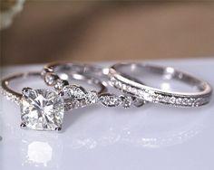 2ctw Cushion Moissanite Ring Set, 7.5mm Moissanite Engagement Ring Set, Solid 14K White Gold, Wedding Ring Set, Bridal Set For You 009M by CAJewelryStudio on Etsy https://www.etsy.com/listing/492823740/2ctw-cushion-moissanite-ring-set-75mm
