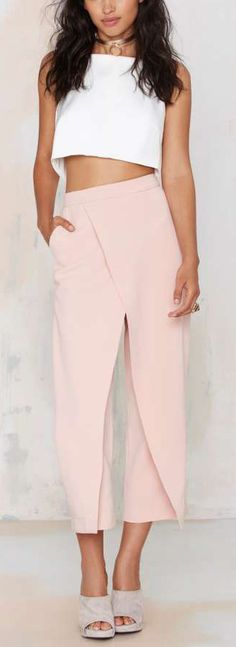 Double Up Layered Trousers - Blush ==