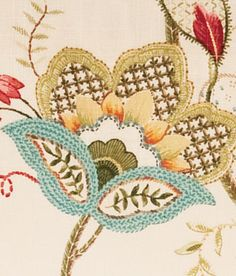 Country Curtains Jacobean Floral Scalloped Valance, Blue