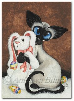 Created from one of my Original Paintings ~ AmyLyn Bihrle ♥●•٠·˙ Siamese Series #402    Title: Bunny Hug    ● Sizes available- Use drop down menu