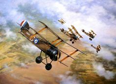 Vintage Aircrafts Black Flight by Terry Jones (Sopwith Triplane) World War One, First World, Airplane History, Aircraft Painting, Vintage Airplanes, Royal Air Force, Aviation Art, Military Art, Military Aircraft