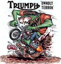 Rat Fink Triumph photo by weldonmc Triumph Bobber, Triumph Motorcycles, Triumph Bonneville, Zombie Drawings, Car Drawings, Ed Roth Art, David Mann Art, Motorcycle Posters, Rat Fink