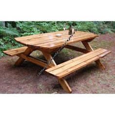 Build Your Own Wood PICNIC TABLE Family Size Park Style Indoor Or