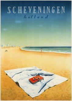Vintage Travel Poster Scheveningen Beach, Holland (the Netherlands)