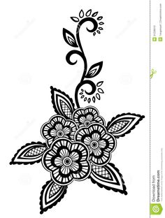 beautiful embroidery pattern | : Beautiful floral element. Black-and-white flowers and leaves design ...