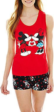 Disney Mickey and Minnie Mouse Tank Top and Boxer Pajama Set