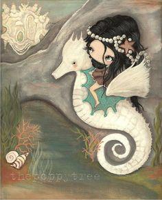 Seahorse Art Print Nursery Sea Shell Castle by thepoppytree, $18.00