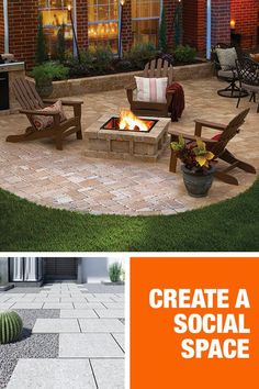 Whether you're hosting a large dinner party or a cozy date night, The Home Depot can help you design the perfect patio for a season of outdoor entertaining. Start with beautiful pavers to make your space pop, available in a wide assortment of materials fr Backyard Patio Designs, Backyard Projects, Diy Patio, Backyard Landscaping, Landscaping Supplies, Backyard Ideas, Casa Patio, Sainte Lucie, Fire Pit Backyard