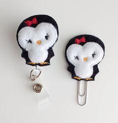 Penguin Feltie Paperclip | Badge Reel Felt Badge Reel | Badge Holder | Lanyard | Planner Clip | Planner Accessory | Felt Penguin