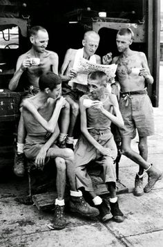 Australian soldiers after their release from Japanese captivity in Singapore, 1945
