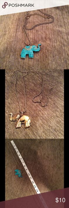 Reversible elephant necklace Turquoise on one side brass/gold on the other side.  See picture #3 for measurements. Jewelry Necklaces