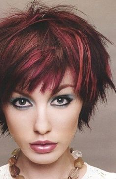red and brown blend hair  this cut is super sassy too!