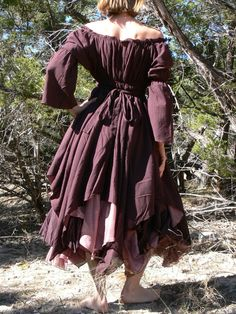 XS s M Gypsy Dress Layered with Sleeves Pirate Wench Renaissance Costume Brown | eBay