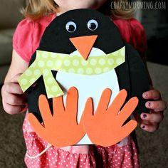 Make a fun handprint penguin craft for kids! It's an easy winter art project that is a great keepsake. #christmasactivitiesforkids