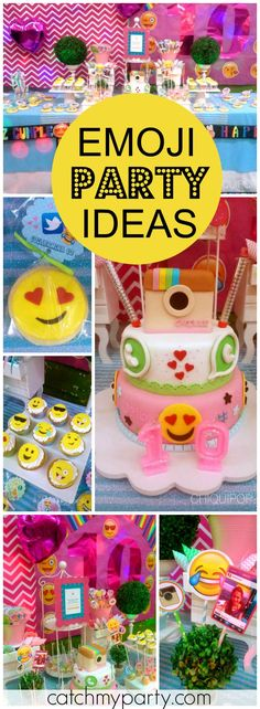 "So many fun ideas at this emoji themed girl birthday party! See more party ideas at <a href=""http://Catchmyparty.com"" rel=""nofollow"" target=""_blank"">Catchmyparty.com</a>!"