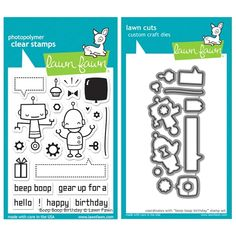 Lawn Fawn SET LFSETBBB BEEP BOOP BIRTHDAY Clear Stamps and Dies