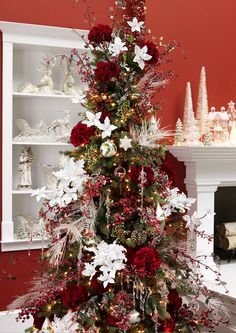 Cristhmas Tree Decorations Ideas : Pretty white added on red Christmas Tree Slim Christmas Tree, Creative Christmas Trees, Beautiful Christmas Trees, Christmas Tree Themes, Noel Christmas, Holiday Tree, Xmas Tree, Family Holiday, Modern Christmas