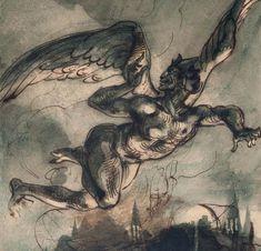 Eugène Delacroix, Mephisto dans les airs, dessin pour Goethe, Faust,1882