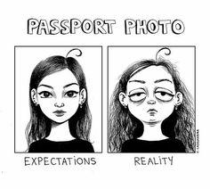 Passport photo expectations vs reality - artwork by C.Cassandra