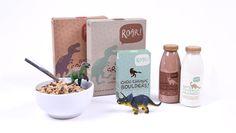 Packaging design for ROAR! An all organic, raw and vegan kids snack company #raw #vegan #packaging #design #dinosaur