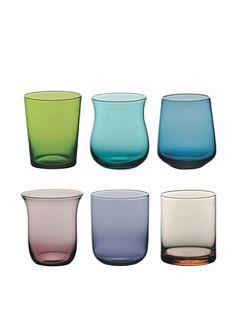 it.buyvip.com  Set di 6 bicchieri in vetro colorato. Diametro: 8 cm.