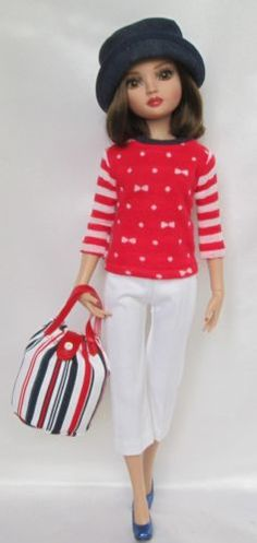 SET TO SAIL OUTFIT for Ellowyne Wilde includes Knit Top, Wider-Legged Cropped Pants, Hat & Striped Twill Bag, by ssdesigns via eBay, SOLD 5/9/15  $52.99
