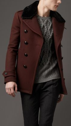 Burberry London Wool Naval Pea Coat, sweater and pants