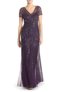 Womens Adrianna Papell Beaded Short Sleeve A-Line Gown Size 14 - Purple $329.00 AT vintagedancer.com