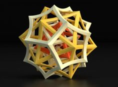 Tricolored 3D printed sculpture designed by Shapeways' Bathsheba Grossman