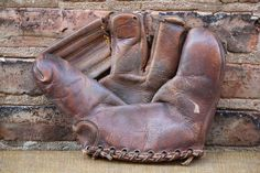 Vintage Classic Leather Three Finger Rawlings Baseball Mitt