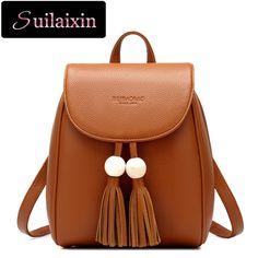 5fc5ae85b0c2 Women Leather Backpacks Vintage Preppy Style Schoolbag For Teenage Girl  Tassel Travel bags Ladies Backpacks Mochila