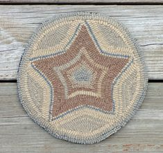 Primitive Rug Hooking - 9 inch mat - Folk Art Star Hooked with Wool Strips
