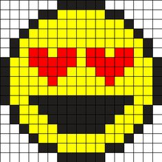 Heart_Eyes_Emoji_Smiley_Love_Smile_Perler by Vickimac on Kandi Patterns