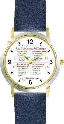 Habit 3 - Time Management Matrix or Quadrants (Spanish Text) - DELUXE TWO-TONE WATCH from THE 7 HABITS - WATCH COLLECTION BY WATCHBUDDY® - Arabic Numbers - Blue Leather Strap-Size-Children's Size-Small ( Boy's Size & Girl's Size ) WatchBuddy. $49.95. Save 38% Off!