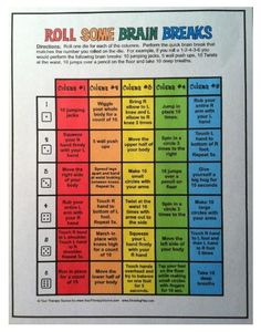 Free Brain Breaks for classroom - roll the die and perform an activity from each column.