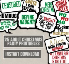 25 Adult Christmas Phrases Printable photo booth props, christmas adult party props, naughty christmas props, xmas party props photobooth by YouGrewPrintables on Etsy