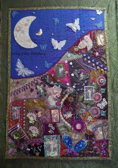 """I just finished, """"Midnight in the Garden"""", all work by hand - except the quilting in the sky.  www.BettyPillsbury.com"""