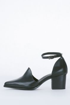 Black Leather Stacked Heel Pointy Toe Cut Out Bootie