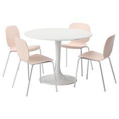 DOCKSTA/SVENBERTIL Table and 4 chairs White/birch 105 cm - IKEA