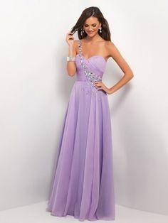 A-line One-Shoulder Sleeveless Beading Floor-length Chiffon Prom Dress
