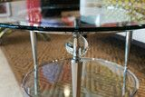 "http://www.luxehomephiladelphia.com/products/olympic-round-cocktail-table-design-institute-america Olympic Round Cocktail Table by Design Institute of America is a contemporary cocktail table with a 1/2"" convex edge glass top and crystal ball finials. Luxe Home Philadelphia stocks a wide selection of modern end tables, contemporary accent tables and side tables."