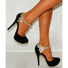 Black and gold heels with an ankle strap.