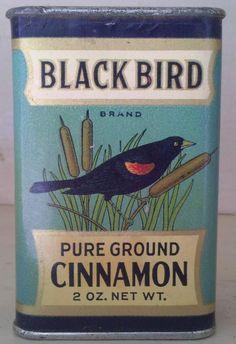 Very rare Black Bird Cinnamon Spice tin, antique