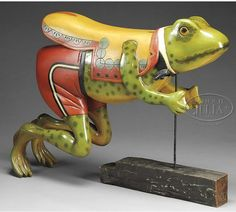 Rare Herschell-Spillman carved and paint-decorated carousel frog