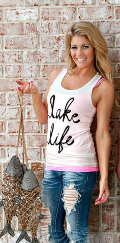 Lake Life Graphic Racerback Tank: Ivory