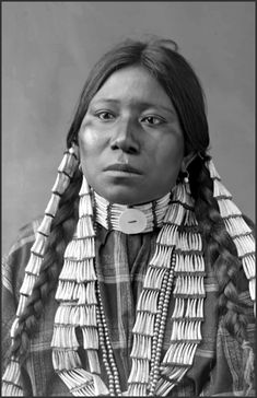 Chief Gall's granddaughter or niece, Dakota female, head and shoulders studio portrait, wearing braided hair with long seashell ornamentation, long seashell earrings, and necklace.  ca. 1880s | ©David Frances Barry / Denver Public Libary