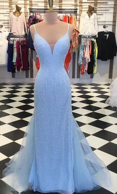 Sparkly Sequins Blue Mermaid Long Prom Dress M1087
