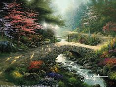 """Bridge Of Faith [1997] © Thomas Kinkade """"    For me, the world is enriched by images of faith. In the Garden of Promise collection, I look for those moments of revelation, of joyous acceptance, that comprise our common spiritual experience. Then I look out into the world to find visual images that reflect the truths of my walk with God."""""""