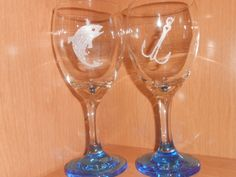 NEW ITEM!  Etched Fish and Fish Hook Wine Goblets - Couples Gift Idea by TreasuresShop on Etsy