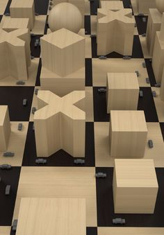 3D render - bauhaus chess - Andrea Mauri Carbonell industrial design portfolio